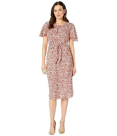 LAUREN Ralph Lauren Keyhole Crepe Dress (Canyon Red/Mascarpone Cream) Women