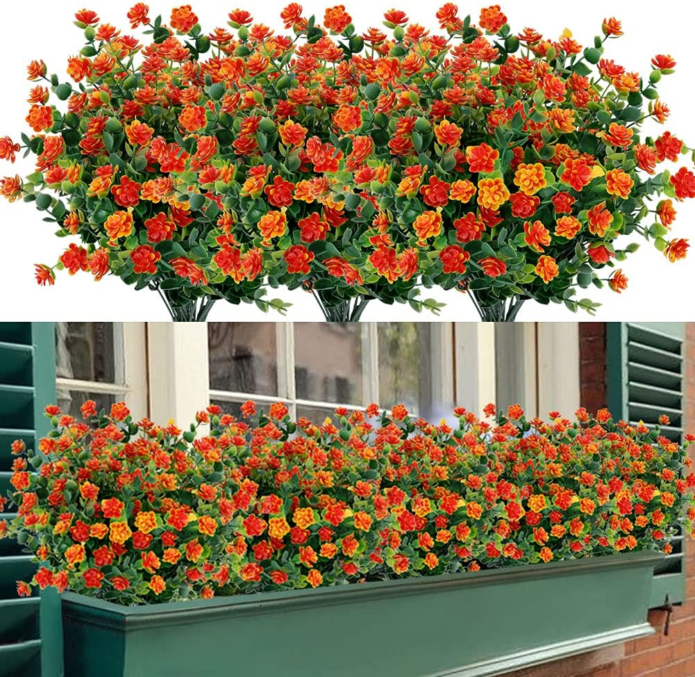 TEMCHY 24 Bundles Outdoor Artificial Max 66% OFF Fake No Res Fade Flowers UV New life