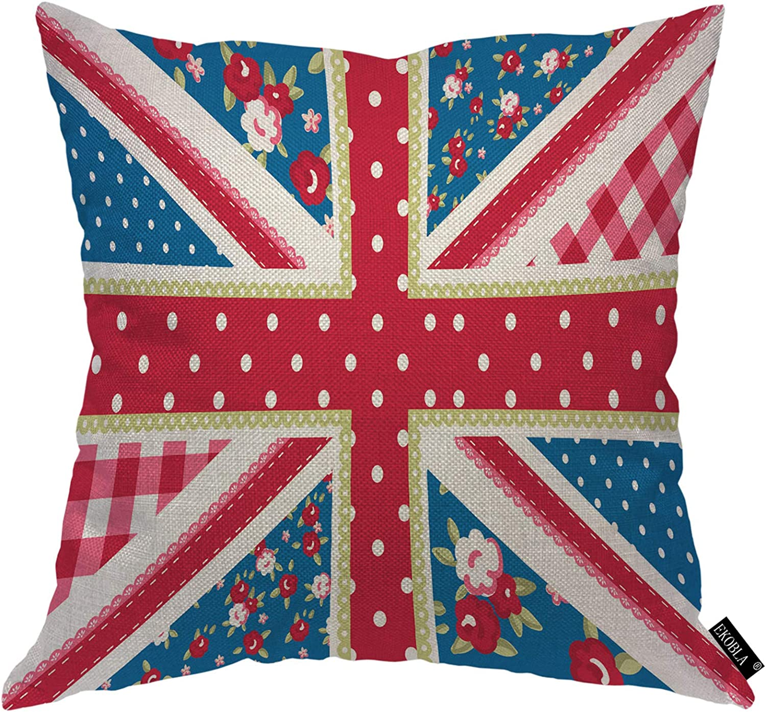 EKOBLA British Flag Throw Pillow Cover Cute Shabby Chic Floral Style Vintage Dots Blue Background Cozy Square Cushion Case for Men Women Boys Girls Room Home Decor Cotton Linen 18x18 Inch