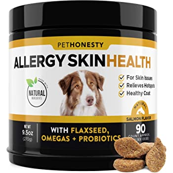 PetHonesty Allergy SkinHealth - Fish Oil for Dogs with Omegas, DHAGold, Flaxseed, Probiotics for Itch-Free Skin, Shiny Coats, Hotspots, Reduce Shedding - Soft Chews for Healthy Skin & Coat - 90 ct