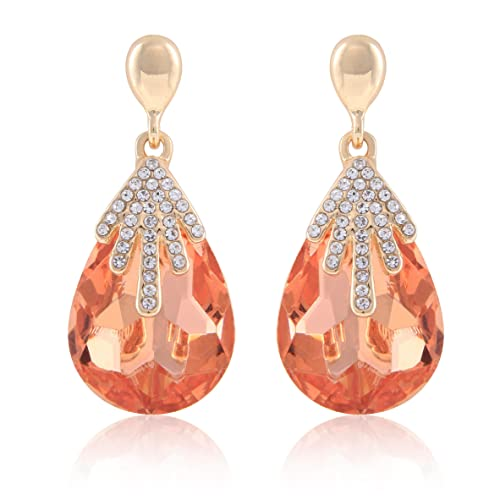 a45aeb5bf Crunchy Fashion Jewellery Gold Plated Stylish Clear Drop Earrings for Girls  Fancy Party Wear Earrings for