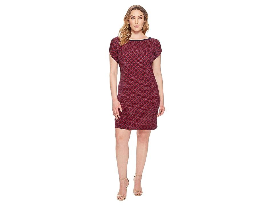 MICHAEL Michael Kors Plus Size Tulip Sleeve Rope Geo Dress (True Navy/True Red) Women