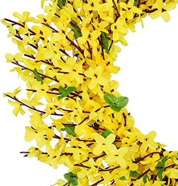 "DearHouse Artificial Forsythia Flower Wreath - 17.5"" Yellow Flower Door Wreath Fake Flower Spring/Summer Wreath for Front Doo"