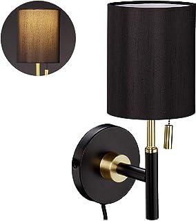 Relaxdays Redonda, Pantalla de Tela, Interruptor de Cuerda, Cable con Enchufe, lámpara de Pared, 32 x 13 x 18 cm, Color Negro y Dorado