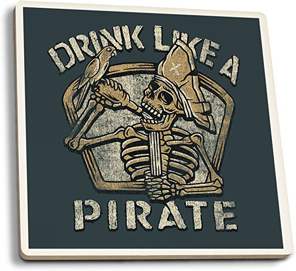 Lantern Press Drink Like A Pirate Set Of 4 Ceramic Coasters Cork Backed Absorbent