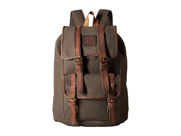 STS Ranchwear The Foreman Backpack (Dark Khaki Canvas/Leather) Backpack Bags