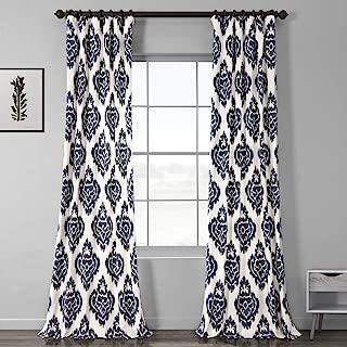 Half Price Drapes PRTW-D24A-84 Printed Cotton Curtain, Ikat Blue