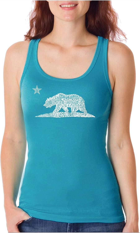 Women's Word Art Tank Top California LA Pop Discount mail order Product - Bear-
