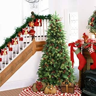 LIFEFAIR 6.5FT Prelit Christmas Tree Pine Tree Decorated with 450 Clear Lights, Pine Cone and Red Berries for Holiday Decor