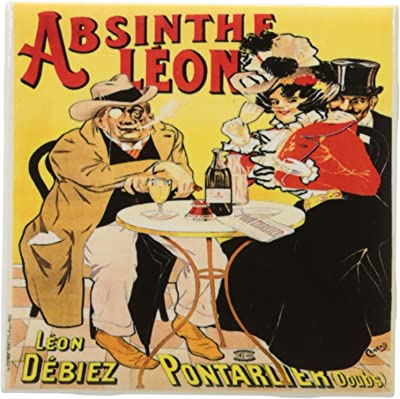 3dRose ct_149285_1 Vintage Absinthe Leon French Wine Advertising Poster-Ceramic Tile, 4-Inch