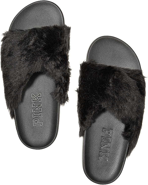 Victoria's Secret Pink Faux-Fur Crisscross Slides Sandals