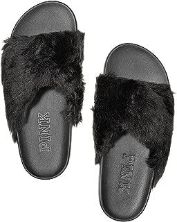 Victoria's Secret Pink Faux-Fur Crisscross Slides Sandals, Black, Large