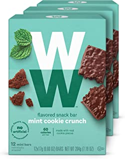 WW Mint Cookie Crunch Mini Bar - Snack Bar, 2 SmartPoints - 3 Boxes (36 Count Total) - Weight Watchers Reimagined