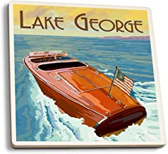 Lake George, New York - Wooden Boat on Lake (Set of 4 Ceramic Coasters - Cork-Backed, Absorbent)