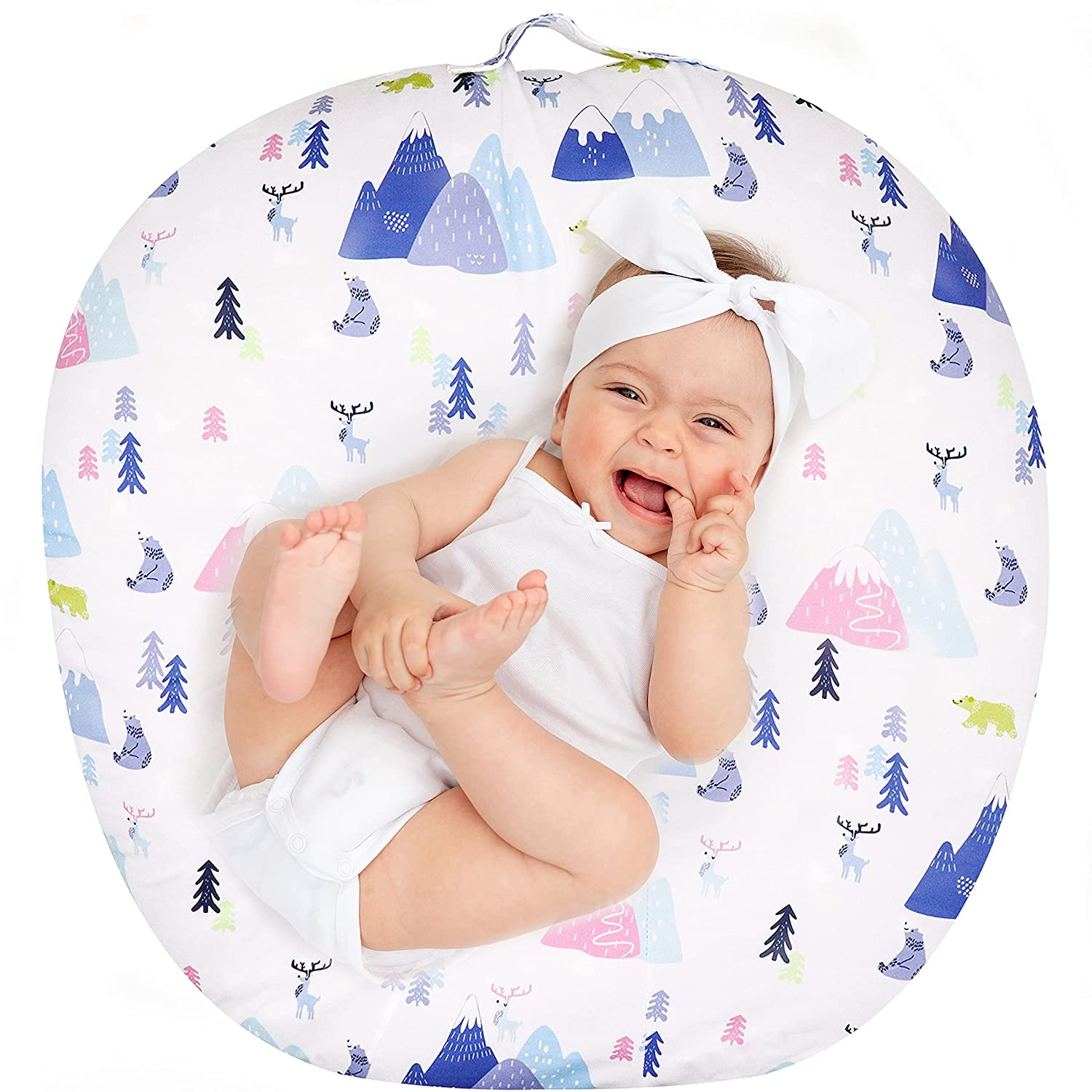 GFU Newborn Lounger Cover for Boys Girls, Removable Lounger Pillow Cover, Soft Snug Fitted Baby Lounger Slipcover, Colorful Forest(Lounger Pillow Not Included)