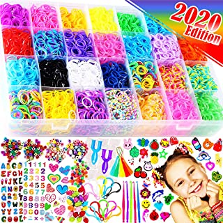 FunzBo Loom Bands Bracelet Making Kit - Rubber Bands Maker Refill Kits Set 10 in 1 Super 11900+ Rainbow Colored Rubberband...