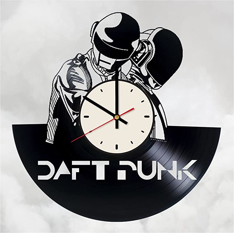 Pieceful Daft Punk Get Lucky Vinyl Record Wall Clock Artwork Gift Idea For Birthday Christmas Women Men Friends Girlfriend Boyfriend And Teens Living Kids Room Nursery