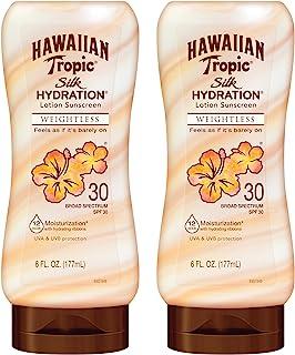 Hawaiian Tropic SPF 30 Broad Spectrum Sunscreen, Silk Hydration Weightless Moisturizing Sunscreen Lotion, 6 Fl Oz, Twin Pack