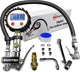 """Swaytex Digital Tire Inflator Gauge - Air Compressor Dial Tire Inflation Gun Attachment Hose with Pressure Gauge - 200 PSI Pneumatic Tire Inflator/Deflator with Air Chuck and ¼"""" NPT Quick Connect"""