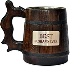 Handmade Best Husband - Wood Beer - Mug NON-PERSONALIZED 0.6L 20oz Natural Stainless Steel - Cup Men - Eco-Friendly Wooden Tankard Souvenir Retro Brown