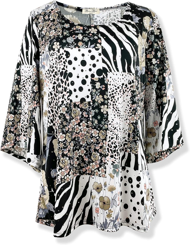 Brittany Black Women's Floral 3/4 Sleeve Straight Hem Tunic Shirt Knit Top