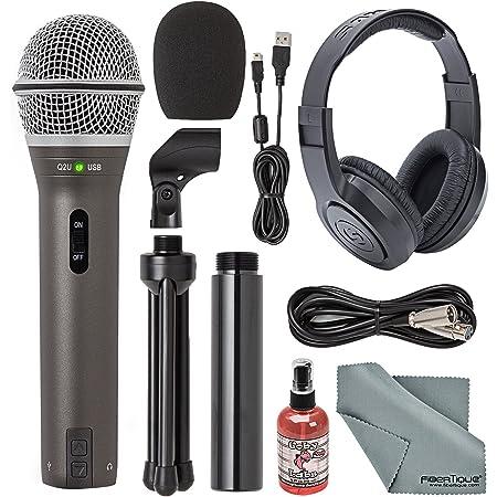 Samson Q2U Handheld Dynamic USB Microphone Recording and Podcasting Kit + Accessory Bundle