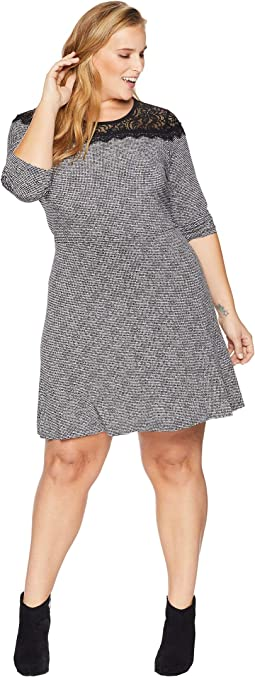 Plus Size Mini Tweed Lace Dress