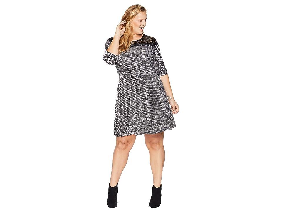 MICHAEL Michael Kors Plus Size Mini Tweed Lace Dress (Black/White) Women