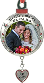 Best BANBERRY DESIGNS Wedding Ornament - 1st Christmas as Mr. and Mrs. EST 2021 - Red and Green Picture Ornament Shaped Like an Ornament Bulb - Our First Christmas Marriage Husband Wife Married Review