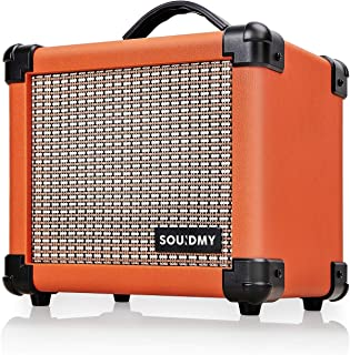 Souidmy Guitar Amplifier, Portable Electric Guitar Amplifier with 10W Speaker, Dual-Powered Guitar Amp includes Gain/Bass/Treble knob (Carrot Orange)