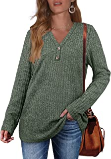 Sponsored Ad - OFEEFAN Women's Fall Sweaters Lightweight V Neck Double Buttons Tunic Tops S-XXL