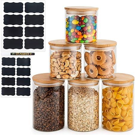 Deco Haus Set 6 Tarros de Cristal Reutilizables Tapa Bambú - Herméticos, Aptos Lavavajillas y Microondas - Contenedor para Galletas, Pasta, Comida Seca, Cereales - Alto 3x10/3x15cm Diámetro 10cm