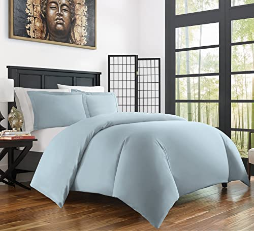 Zen Bamboo Ultra Soft 3-Piece Rayon Derived From Bamboo Duvet Cover Set -Hypoallergenic and Wrinkle Resistant - Full/Queen - Sky Blue