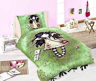 Halantex Gorjuss - Juego de funda nórdica y funda de almohada (140 x 200 cm y 70 x 90 cm respectivamente, 100% algodón), diseño de Santor, color verde, negro y amarillo