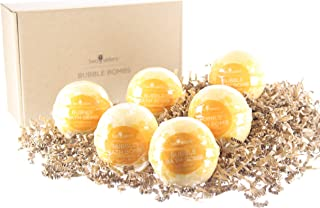 6 Lemon Sugar Bubble Bath Bombs by Two Sisters Spa. 6-5oz Large 99% Natural Fizzies For Women, Teens and Kids. Moisturizes Dry Sensitive Skin. Releases Lush Color, Scent, and Bubbles.