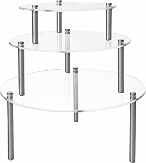 MyGift Set of 3 Round Clear Acrylic Retail Display Risers, Dessert & Bakery Stand