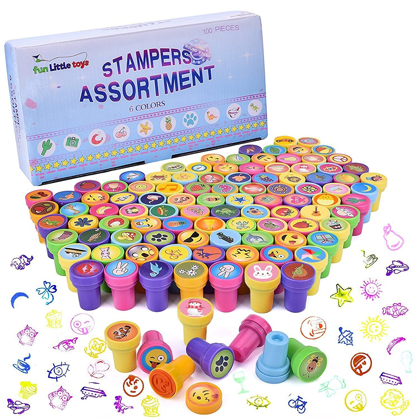 100Pcs Assorted Stamps All in One Box Including 100 Different Designs for Kids Party Favors, Prizes, Pinata Toys and More