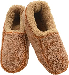 Snoozies Mens Fleece Lined Non-Skid Slipper Socks Brown