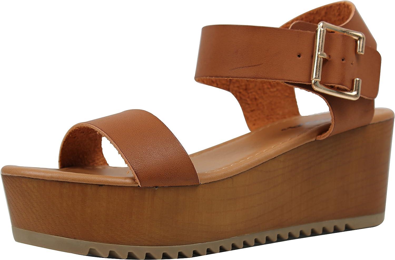 Soda Women's Open Toe Ankle Strap Flatform Sandal Wedge