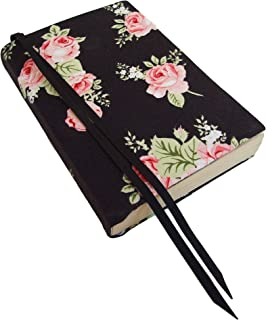 5 Inch Trade Size Paperback Book Cover Small, 5x7, PINK ROSES Stretch Fabric Floral Book Cover for Paperback and Hardcover Books, Extra Small Bible Cover for Women