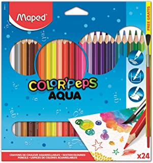 Maped Color'Peps Triangular Watercolor Pencils, Assorted Colors, Pack Of 24 (836013Zv)