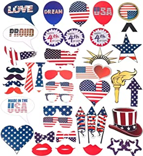 4th of July DIY Photo Booth Selfie Props Kit - 40 Pcs Patriotic Party Decoartions Happy American Independence Day Memorial Day Veterans USA Stripes Flag Funny Party Favor Supplies