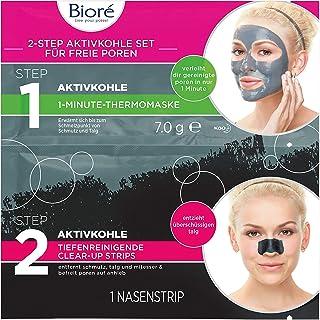Bioré dubbele set met actieve kool – 6 x elk 1 neusclear-up strip en 1 verwarmend gezichtsmasker van 1 minuut, verpakking ...