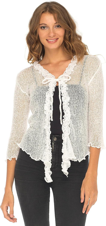 SHU-SHI Womens Sheer Shrug Cardigan Sweater Lightweight Knit Ruffle Shrug