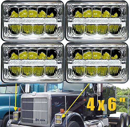 """wholesale 4x6"""" LED Headlights For International Harvester 9300 Series 1988-1999 Sealed Beam Rectangular High Low Headlamp high quality H4651 H4642 H4652 discount H4656 H4666 H4668 H6545 Super Bright Lights Replacement, Pack of 4 online"""
