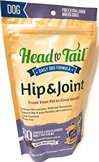 Head to Tail Daily Hip & Joint Chews, Chicken Liver Blueberry, Extra Large XL Breed Dogs Over 75lbs, Wheat Free, 60 Chew Packet