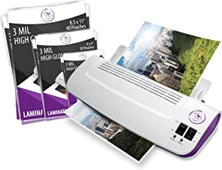Purple Cows Hot and Cold Laminator, Includes 100 3 mil Hot Pockets, Assorted Sizes (3016c)