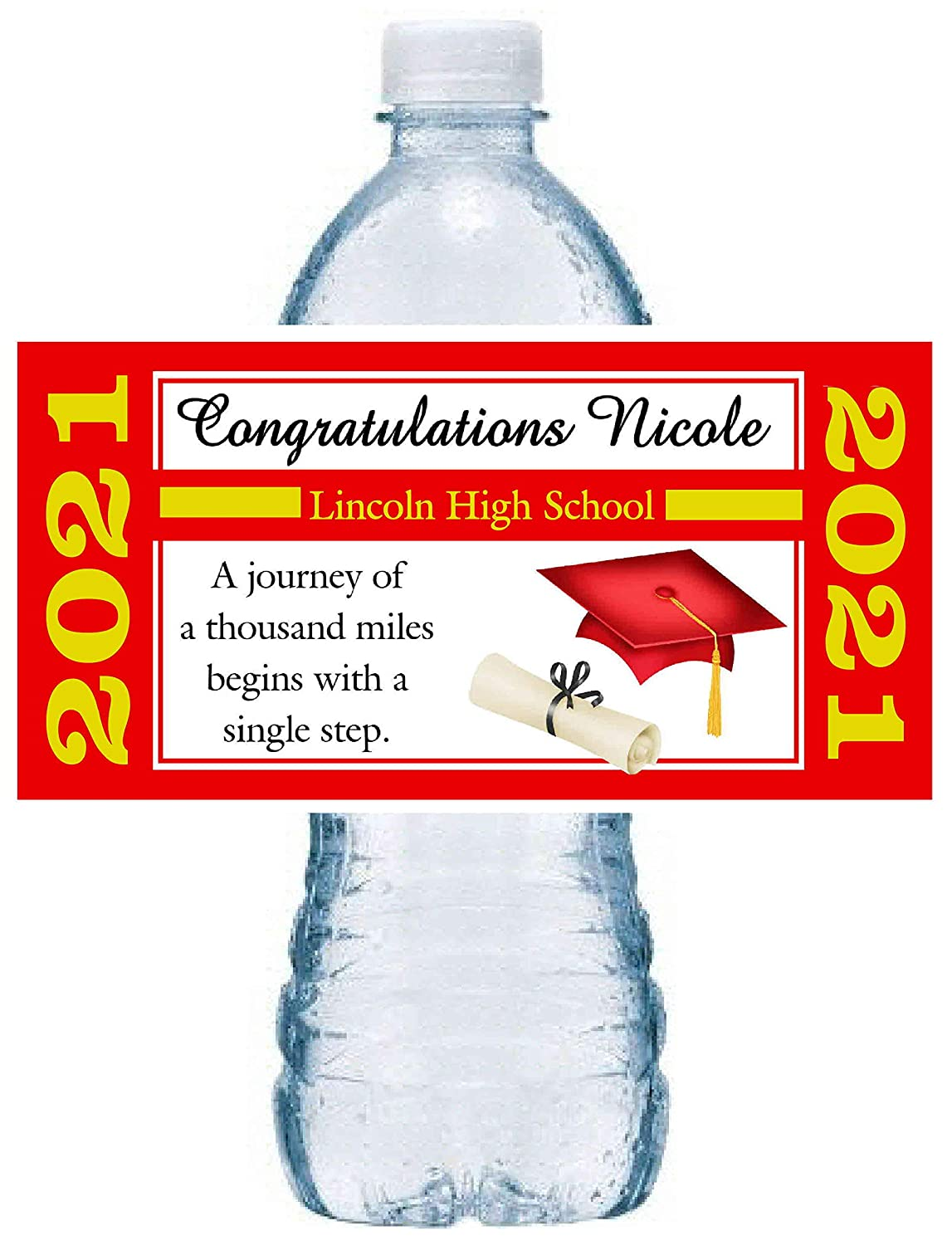 20 RED AND Phoenix Mall GOLD GRADUATION BOTTL WATER PERSONALIZED FAVORS PARTY Bombing new work