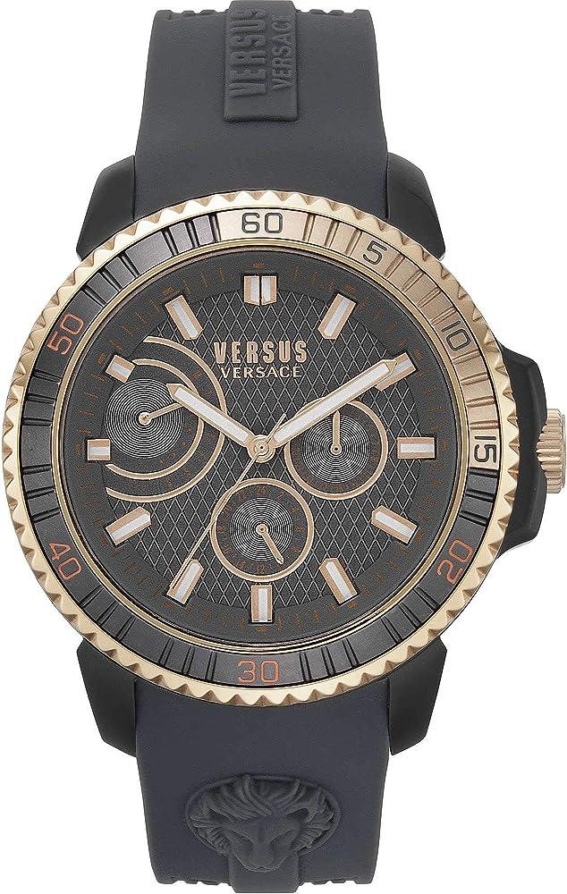 Versus versace mount pleasant - orologio cronografo da uomo con cassa: acciaio e cinturino in silicone VSPLO0319