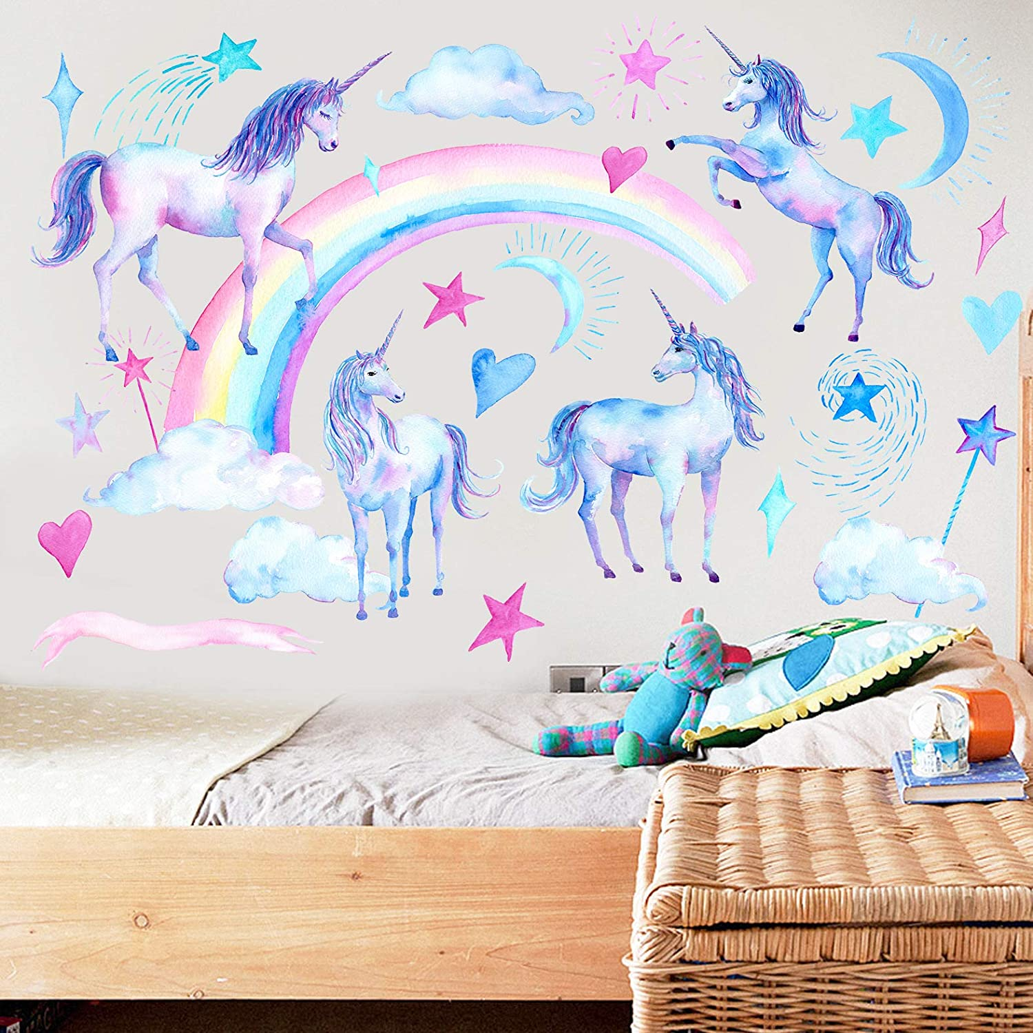 Wajade Unicorn Wall Miami Mall Decals 2 St Recommendation and Sheets Peel Rainbow